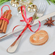 Kitchen arrangement of objects and Christmas bells. — Stock Photo