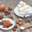 Accessories ingredients for baking sweets for Christmas. — Stock Photo