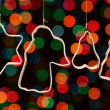 Group forms for baking cookies on a background bokeh for Christm — Stock Photo #14098930