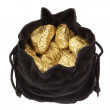 Gold nuggets stones in a bag on a white background. — Stock Photo