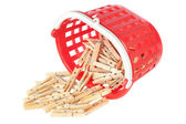 Group clothespins in red basket. Closeup. — Stock Photo