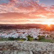 Stock Photo: Panoramof morning sunrise in village of Aljezur. Portu