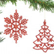 Stock Photo: Christmas decoration on tree. On white background.