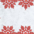 Christmas decorative frame with snowflakes closeup on snow. — Stock Photo #14742119
