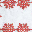 Christmas decorative frame with snowflakes on snow. — Stock Photo