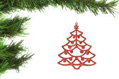 Abstract decoration on the Christmas tree. On a white background — Stock Photo