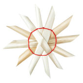 Decorative Christmas straw snowflake on a white background. — Stock Photo