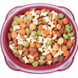 Plate of food for dogs and cats from above. On a white backgroun — Stock Photo #15352215