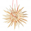 Straw Christmas star snowflake. On a white background. - Stock Photo
