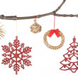 Set decoration on a branch for Christmas. On a white background, — Stock Photo