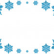 Christmas decorative frame of blue snowflakes. On a white backgr — Stock Photo