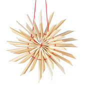 Straw Christmas star snowflake. On a white background. — Stock Photo