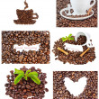 Set of images of coffee beans and abstractions. — Stock Photo