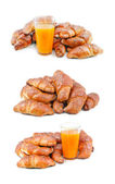 Collection set of images ready croissants pastries and orange ju — Stock Photo