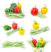 Série d'images de légumes frais. gros plan sur un motif blanc — Photo