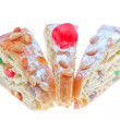 King cake slices close-up on a white background. - Stock Photo
