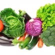 Stock Photo: A set of colorful vegetables of cabbage, broccoli, zucchini and