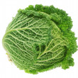 Fresh green head of cabbage. On a white background. — Stock Photo