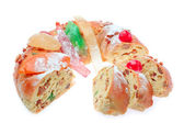 Portuguese king cake in the cut. On a white background. Close-up — Stock Photo
