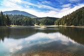 Beautiful mountain lake in Carpathians, Landscape Sinevir. — Stock Photo