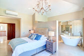 Bedroom with furniture and decorative bathroom. — Stock Photo