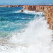 Huge waves crash against the rocks. — Stock Photo