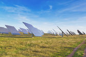 Large station solar panels alternative energy. — Stock Photo