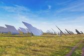 Large station solar panels alternative energy. — Stock Photo