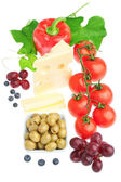 Assorted fruits and vegetables and cheese for breakfast. Isolate — Stock Photo