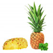 The fruit of the pineapple and mint close up. On a white backgro — Stock Photo