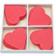Stock Photo: Gift box with red lovely hearts. Valentine