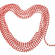 Elegant red beads in the shape of a heart. On a white background — Stock Photo