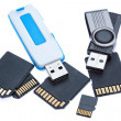 Drives and memory stick. On a white background. — Stock Photo