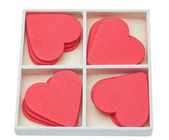 Gift box with red lovely hearts. Valentine — Stock Photo