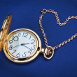 Stock Photo: Pocket watch and chain in the shape of a heart.