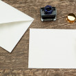 Accessories for writing letters to ancient pen. - Stock Photo