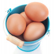 Chicken Easter eggs in a blue bucket. On a white background. — Stock Photo #21414869