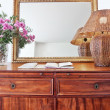 Royalty-Free Stock Photo: Antique bedside table and luminous shade.