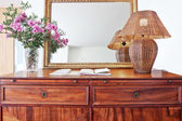 Antique bedside table and luminous shade. — Stock Photo