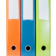 Three colored folders for office clerical. On a white background - Foto de Stock