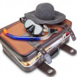 Travel set on suitcase  snorkel mask Panama. On a white background. - Stock Photo