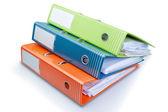 šablony složky office na stůl s papíry. na bílém pozadí. — Stock fotografie