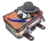 Travel set on suitcase snorkel mask Panama. On a white background. — Stock Photo