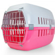 Cage for transporting pets, cats, dogs. With the door closed. — Stock Photo