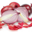 Group of fresh vegetables, onions, unpeeled. On a white backgrou — Stock Photo