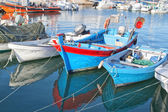 Old fishing boats in the Portuguese port. — Stock Photo