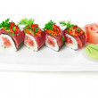Decorative dish sushi rice salmon raw meat and spices. — Photo