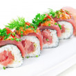 Decorative dish sushi rice salmon raw meat and spices closeup. — Stock Photo