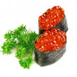 Foto Stock: Decorative dish sushi caviar close-up. On white background.