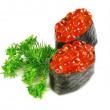 大皿 (かざり皿寿司キャビアのクローズ アップ。白い背景の上 — ストック写真